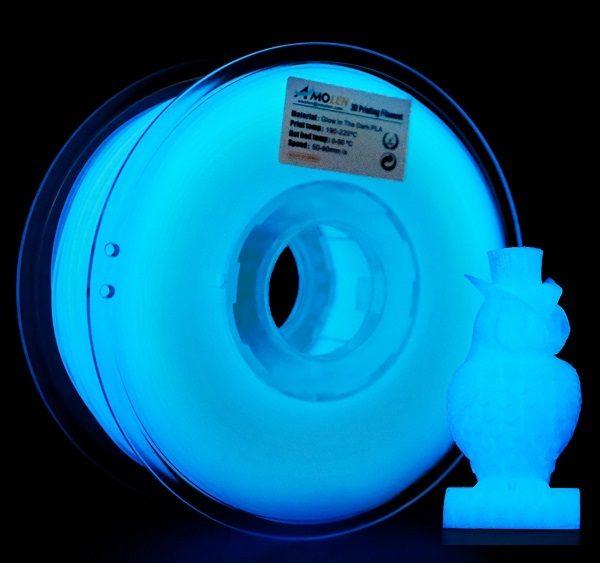 Filament 3d AMOLEN PLA bleu phosphorescent bobine