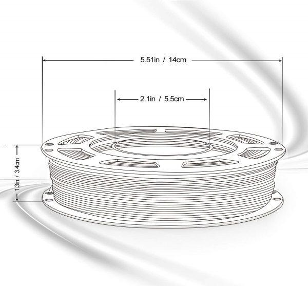 Filament 3d AMOLEN PLA bronze dimensions