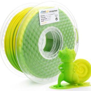 Filament 3d AMOLEN PLA vert jaune bobine
