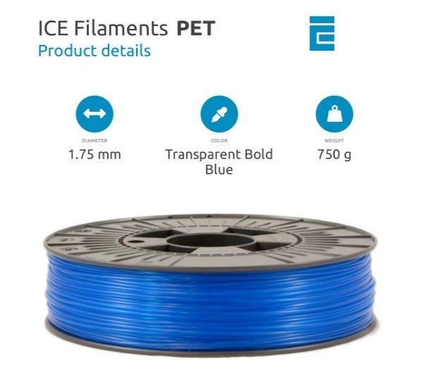 Filament 3d ICE FILAMENTS PET bleu ciel transparent 750g