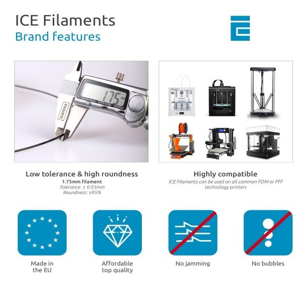 Filament 3d ICE FILAMENTS PET bleu ciel transparent 1.75mm
