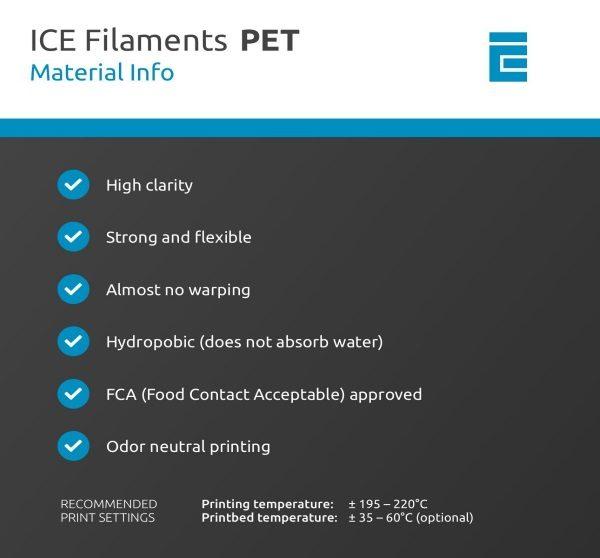 Filament 3d ICE FILAMENTS PET bleu ciel transparent caractéristiques