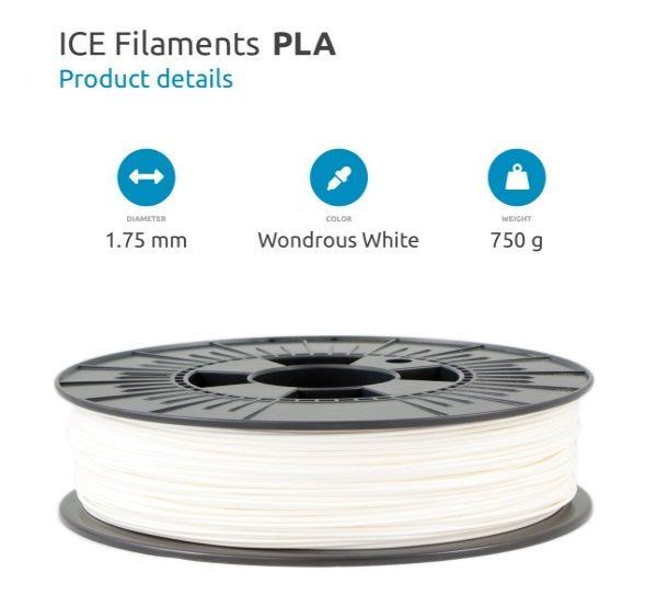 Filament 3d ICE FILAMENTS PLA blanc 1.75mm