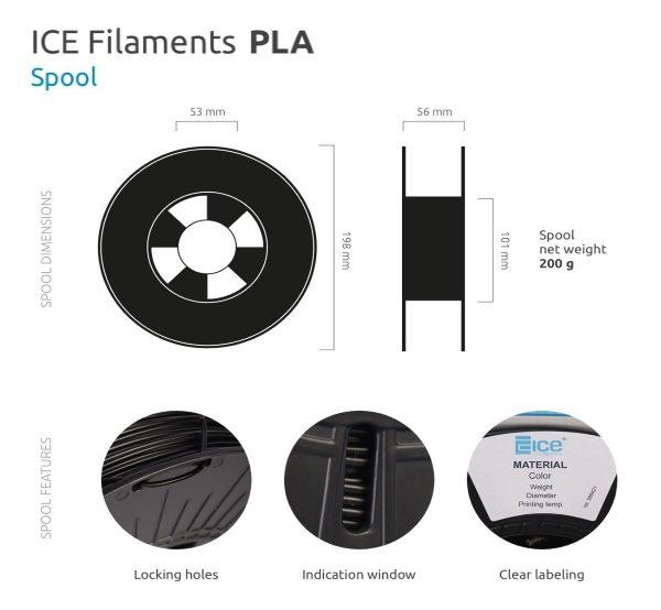 Filament 3d ICE FILAMENTS PLA blanc dimensions