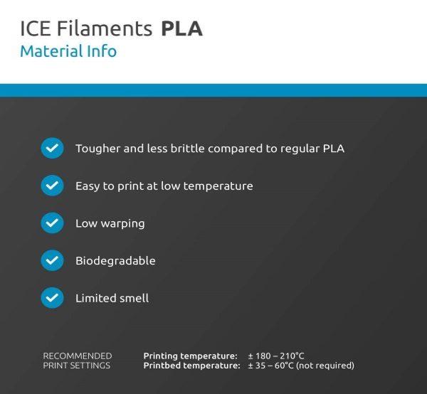 Filament 3d ICE FILAMENTS PLA blanc caractéristiques