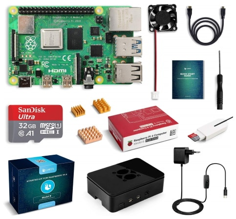 Kit de démarrage Raspberry Pi 4 LABISTS 4Go starter kit top