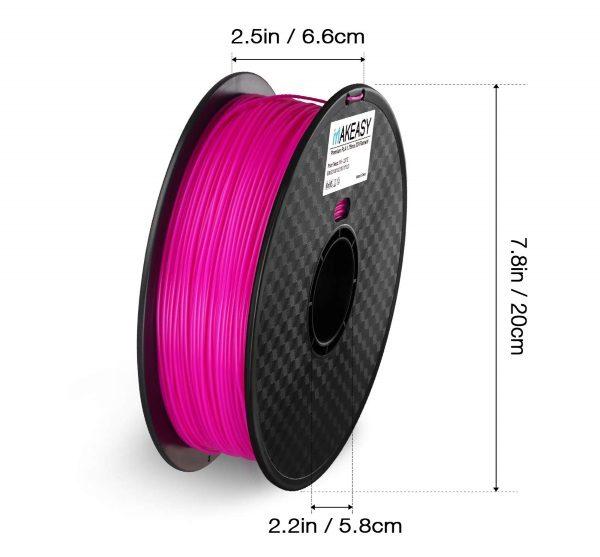 Filament 3d MAKEASY PLA violet dimensions