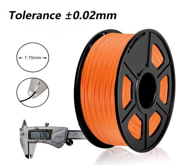 Filament 3d SUNLU PLA orange tolérance