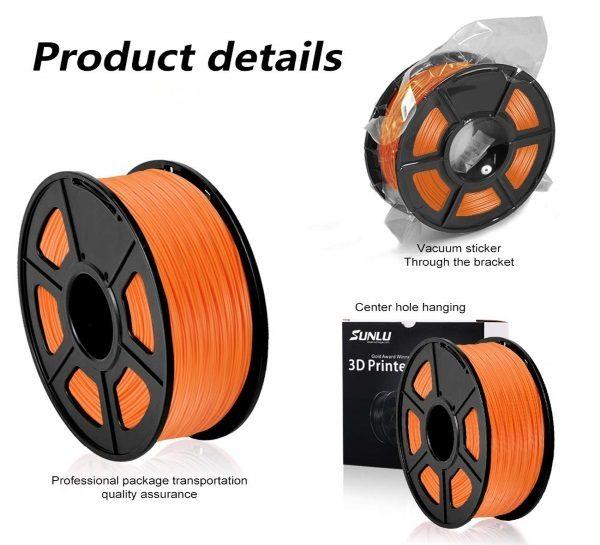 Filament 3d SUNLU PLA orange emballage