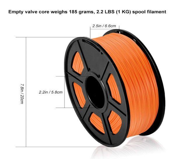 Filament 3d SUNLU PLA orange dimensions