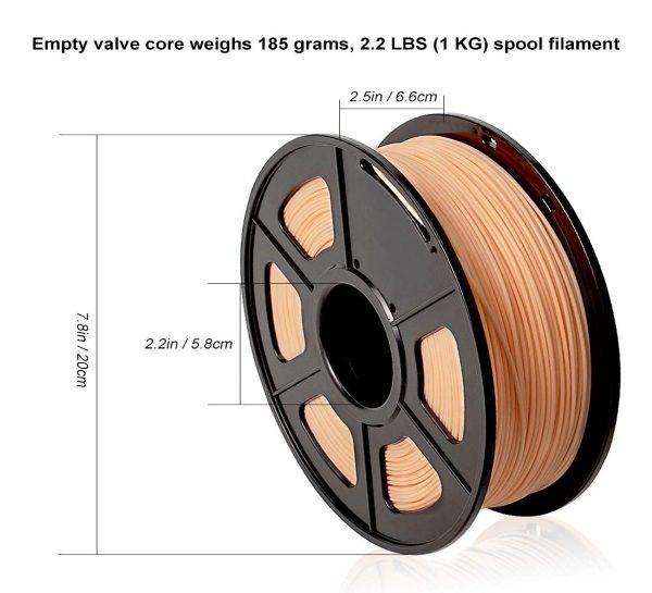 Filament 3d SUNLU PLA peau skin dimensions