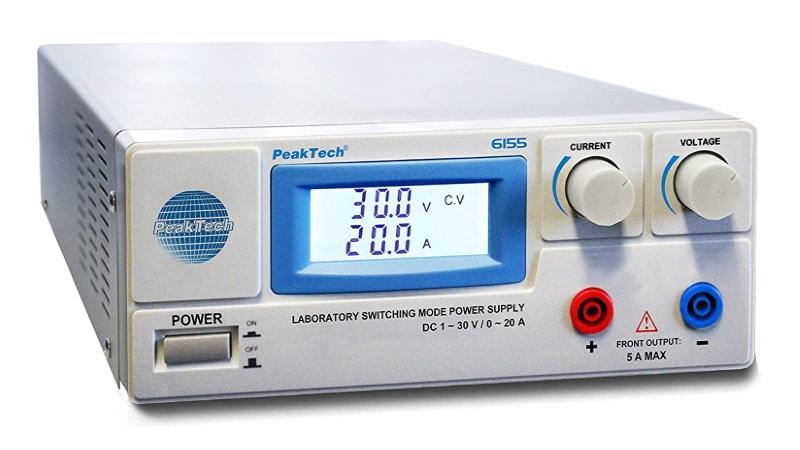 Alimentation stabilisée 20A fort courant, 12V 24V et même jusqu'à 30 volts, avec limiteur de courant ajustable et sortie protégées banane PeakTech 6155
