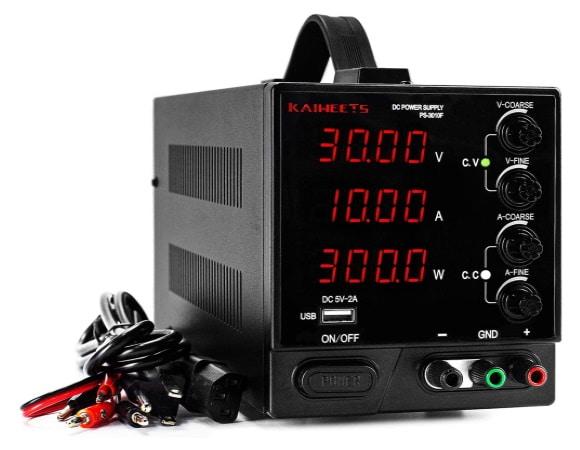 Alimentation stabilisée variable 0-30V et 10A d'intensité, comme alim DC laboratoire réglable en tension et limiteur de courant, avec interface USB