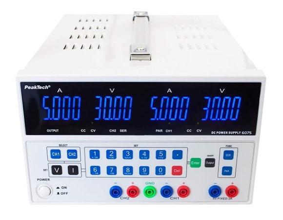Alimentation stabilisée double 30V et 5A charge de sortie, avec fiches bananes sécurisée, forte puissance, réglable en tension et courant variable, PeakTech 6075