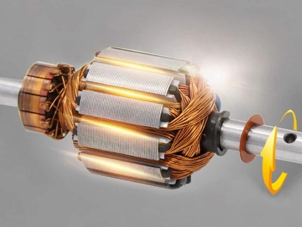 Enroulement de moteur rotor monté sur axe tournant, avec bobinages en cuivre, pour régulation de vitesse moteur électrique
