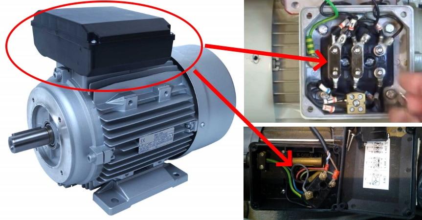 Boitier de raccordement moteur électrique mono ou triphasé, avec ou sans condensateur de démarrage, à deux ou trois enroulements