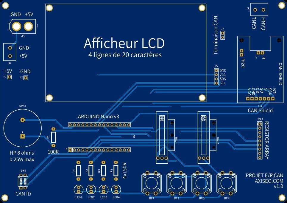 Carte bus can piloté par arduino et shield MCP2515, pour débuter en électronique, côté composant pour débutant communication élec