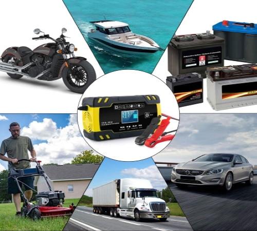 Chargeur de batterie auto, moto, bateau, intelligent 12 volts pour recharger batterie voiture, camping car, ou tondeuse, avec afficheur rétroéclairé LCD top4