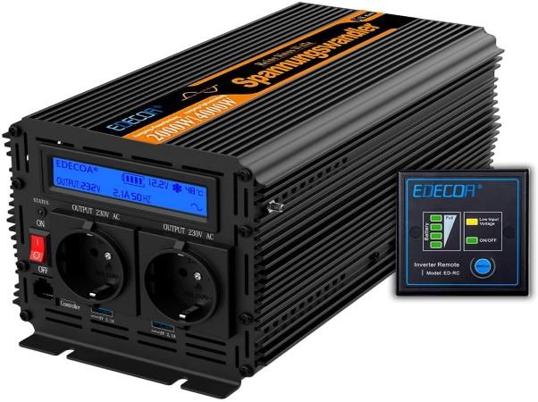 Convertisseur 12v 220v 2000w pur sinus avec télécommande, 4000w max onde sinusoïdale, batterie vers sortie 230v courant secteur top4