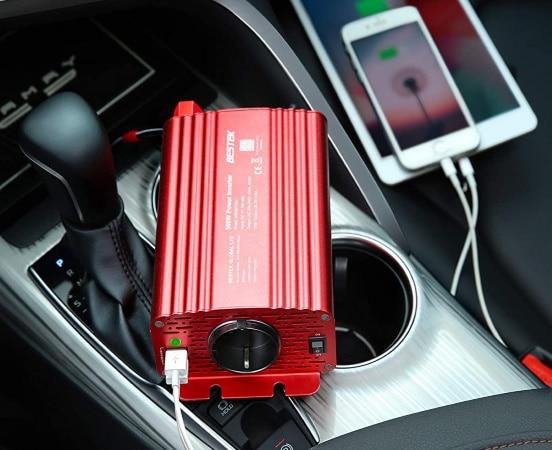 Convertisseur de tension pour voiture, camping car, ou bateau, 12V 220V, avec ports USB 5V 4,8A et fusibles de sécurité, onduleur sinusoïdal top4