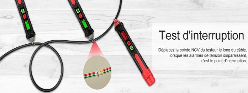 Détecteur de courant alternatif sans contact, pour trouver fil sous tension électrique, visuel et sonore, fonction alarme proximité courant, test sous tension