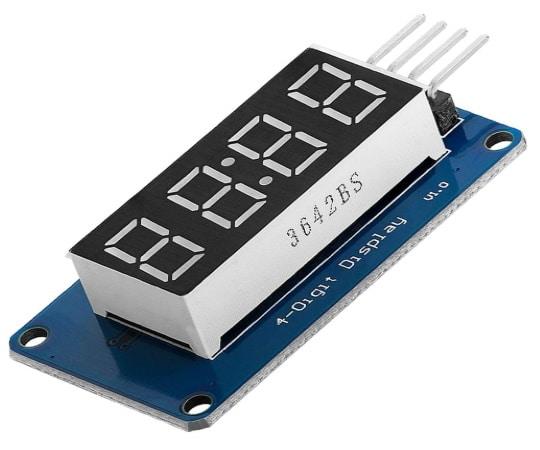 Écran 7 segments arduino à 4 chiffres, pour affichage digital type horloge, doté de 4 digits pilotables en I2C, idéal débutant électronique
