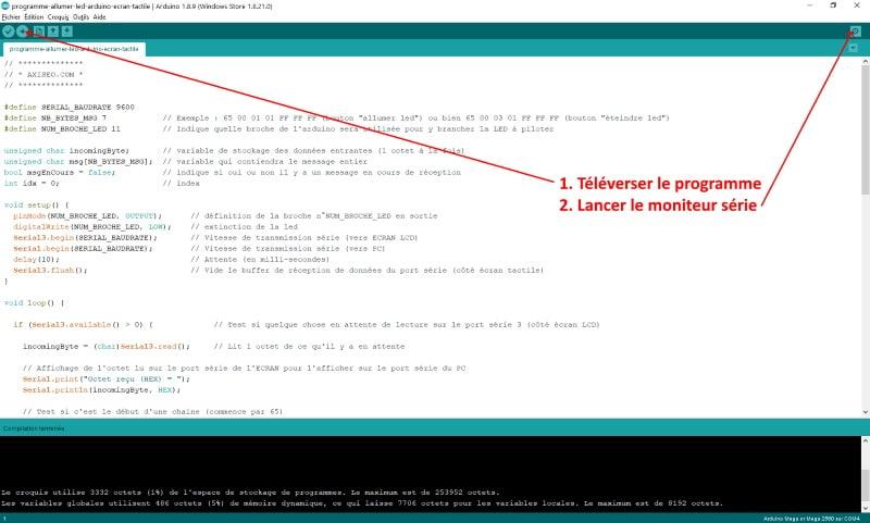 Écran de programmation IDE ARDUINO programme pilotage led (allumer et éteindre) code interface série avec écran LCD tactile axiseo