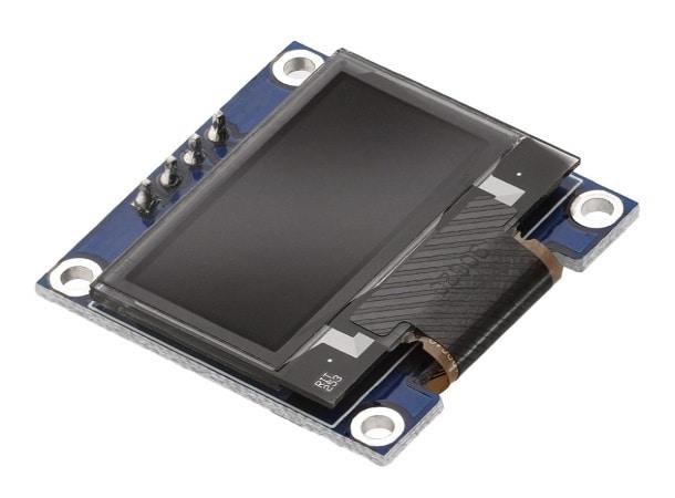 Écran OLED arduino I2C pour affichage données débutant en électronique, taille 0.96 pouces en 128x64 pixels couleur blanc sur fond noir soudé
