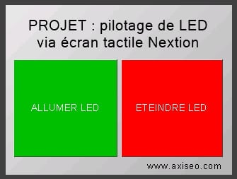 Ecran tactile nextion LCD projet allumer led arduino programme interface homme machine axiseo