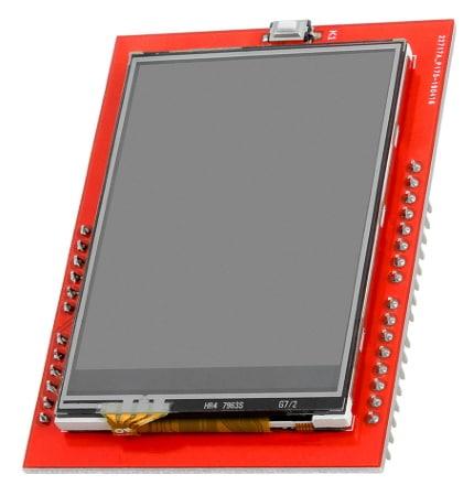 Écran TFT arduino tactile couleur 240x320 pixels et 2.4. pouces, shield uno avec connexion SPI, avec puce affichage ILI9341, idéal pour débuter en élec