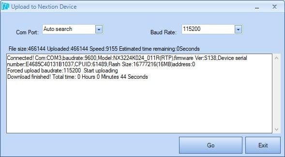 Ecran de transfert programme COM à baud rate 115200 de ordinateur vers écran LCD tactile Nextion 2.4 pouces programmation axiseo