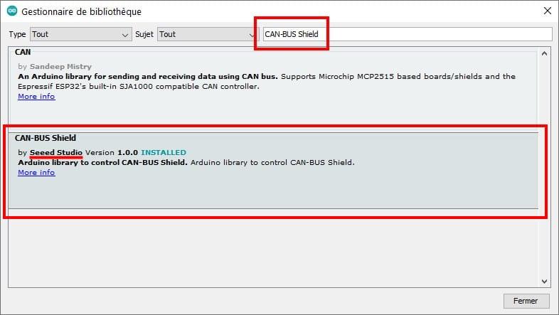 Librairie bus can arduino, bibliothèque logiciel IDE pour gestion shield CAN BUS, pour contrôle émission réception via Nano, Uno, Mega, ou autre