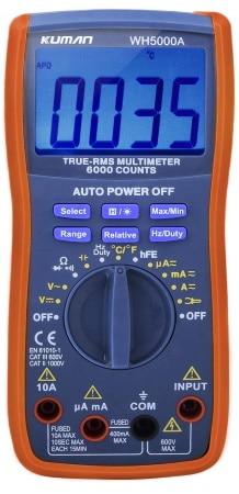 Multimètre numérique TRMS de chez KUMAN mesure température, tension, intensité, résistance, continuité, condensateur, fréquence, diode et transistor top4