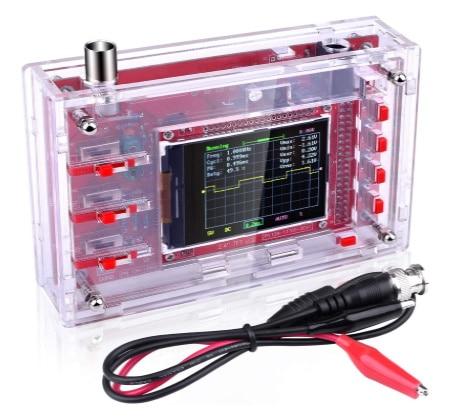 Oscilloscope numérique pas cher, petit boitier avec écran TFT, 1 voie avec sondes pinces crocodiles, 1 Msps faible coût, pour débutant en électronique