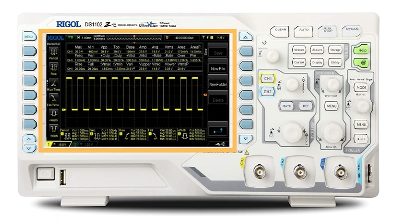 Oscilloscope numérique RIGOL DS1102, échantillonnage 1 Gsps, 2 canaux et écran 7 pouces 800x480, parfait pour bricoleur et amateur d'électronique