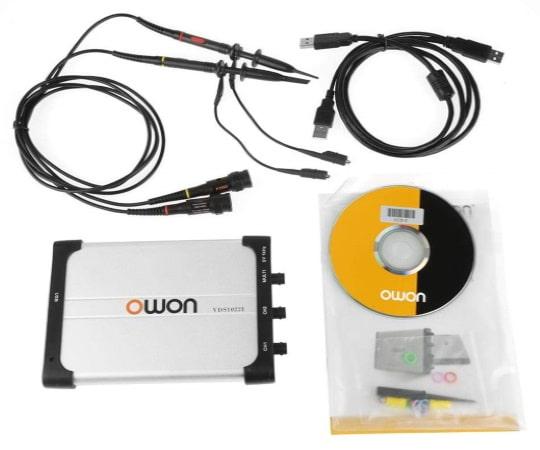 Oscilloscope numérique USB PC avec bande passante 25 MHz, modèle 2 voies à 2 sondes, oscillo pas cher idéal pour débutants en électronique