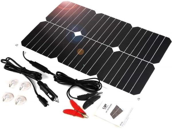 Panneau solaire portable 18V 18W étanche pinces batterie allume cigare automobile top5