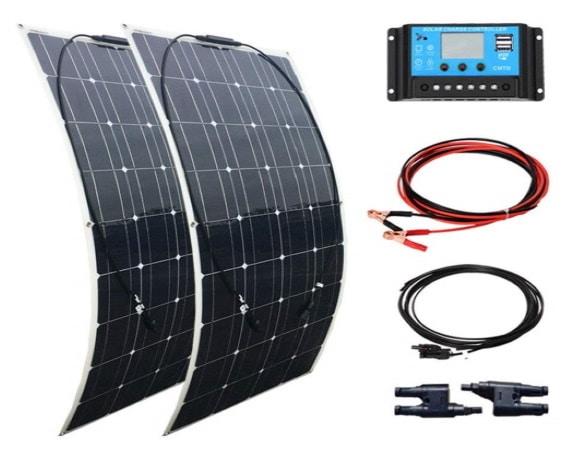 Panneau solaire portable 12V 200W flexible voiture camping car électricité top5