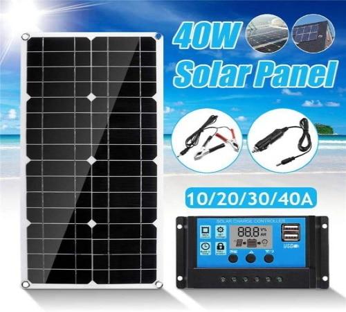 Panneau solaire portable 12V 24V 40W camping car voiture régulateur batterie top5