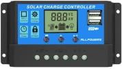 Contrôleur de charge solaire ALLPOWERS 20A et 12V ou 24V PWM pour panneau photovoltaïque intelligent avec écran LCD et port USB double top4