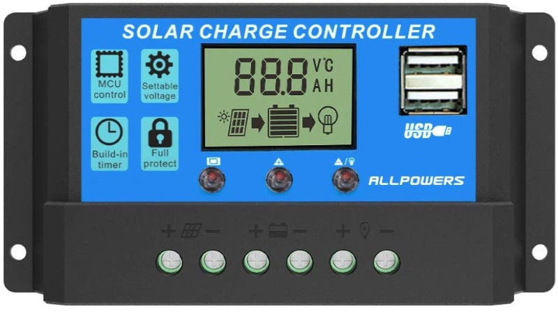 Régulateur solaire ALLPOWERS 12V et 24V pour 20A pour panneau photovoltaïque intelligent PWM avec afficheur LCD et port USB top4