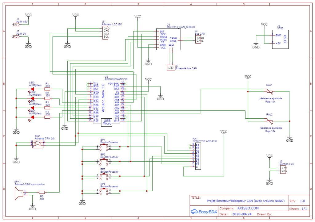Schéma électronique émetteur récepteur bus can piloté par arduino nano, et shield MCP2515, avec écran LCD pour débutant en programmation