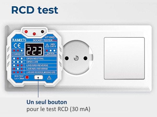 Appareil test différentiel sur prise de courant, fonction test de terre électrique, et présence phase, neutre, puis terre avec bouton RCD 30 mA maison