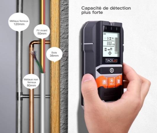 Testeur de courant électrique mural pour détecter câble électrique en profondeur, caché derrière mur, vérificateur présence tension et courant alternatif