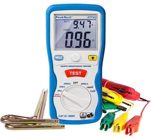 Testeur de terre avec piquet valeur ohmique, mesureur de résistance terre ohm, fonction test mesure, affichage numérique LCD éclairé électrique