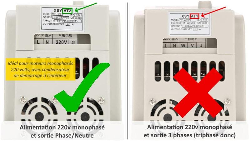 Variateur de fréquence moteur AT2 220 volts, asynchrone monophasé avec condensateur de démarrage, régulateur de vitesse moteur alternatif